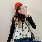 秋季2020年新款韓版洋氣花朵刺繡針織馬甲女寬鬆外穿背心馬夾外套 雙12狂歡購