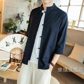唐裝男士棉麻襯衫中國風復古盤扣亞麻上衣七分袖大尺碼襯衣中式立領唐裝M-5XL4色