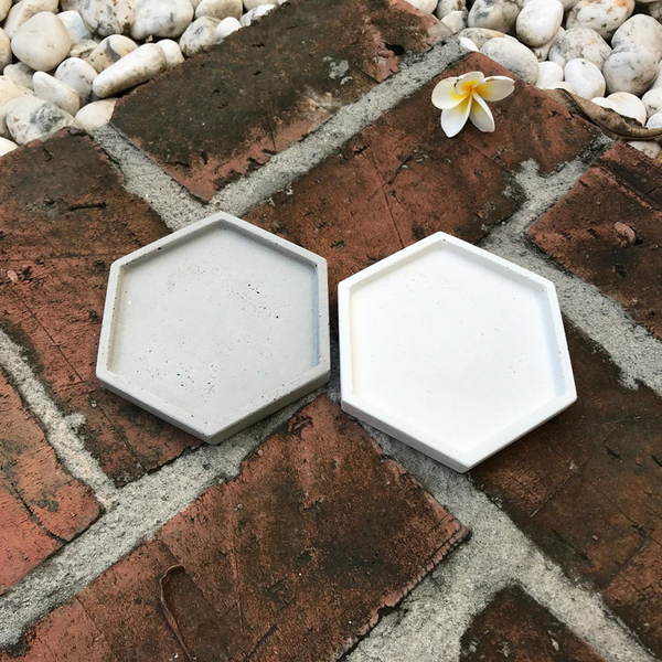 (BEAGLE) 六角型創意水泥花盆托盤(小) 多肉水泥花器/仙人掌水泥花盆/水泥植栽/水泥盆器:10*10CM