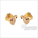 kate spade New York X Disney聯名款米妮設計鑽鑲飾穿式耳環(金)