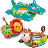 游泳圈 兒童-可愛動物充氣水上活動坐騎浮板3款73ez23[時尚巴黎]