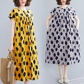 中大尺碼洋裝 2020新款大碼連身裙洋氣減齡寬鬆遮肚子時髦胖妹妹波點中長裙女裝