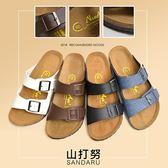 拖鞋 經典百搭皮帶釦休閒鞋-山打努SANDARU【04B122#46】