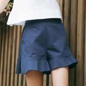 週年慶優惠-短褲 闊腿高腰短褲女韓版寬鬆荷葉邊喇叭邊百搭純色休閒褲