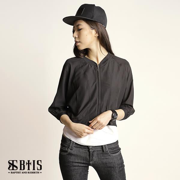 【BTIS】雪紡棒球外套 / 黑色