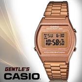 CASIO手錶專賣店 卡西歐  B640WC-5A 男錶 電子錶 復古風玫瑰金方形碼錶  LED照明 不鏽鋼錶帶