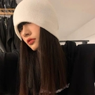2021新品促銷 純色光板卷邊毛線帽女百搭純色帽子休閑保暖針織帽毛線帽百搭