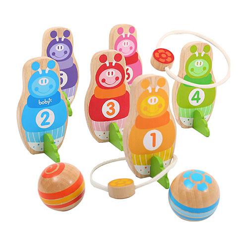 二種玩法木製兒童保齡球組(兒童趣味玩具)