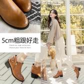 Ann'S感官時尚-古銅拉鍊擦色粗跟短靴-棕