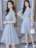 洋裝夏矮小個子雪紡碎花蕾絲洋裝女收腰顯瘦高端名媛氣質 快速出貨