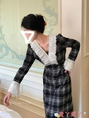 小禮服 宮廷風禮服法式復古公主裙秋冬裝氣質收腰長款顯瘦v領格紋連身裙 愛丫 新品