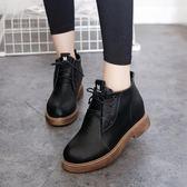 厚底粗跟短筒短靴繫帶單靴女馬丁靴休閒裸靴