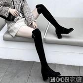 長靴女 過膝長靴女粗跟秋冬新款百搭高筒靴子顯瘦彈力靴中高跟長筒靴 快速出貨