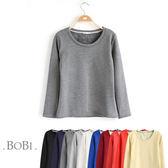 T恤 素色刷毛保暖簡約長袖T恤【MZTX1531】 BOBI  08/18