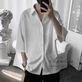 短袖襯衫男韓版休閒潮流七分袖白襯衣帥氣很仙的上衣夏季港風【小艾新品】