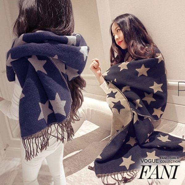 ◇方妮FaNi◇韓國【星星圍巾披肩】罩衫斗篷外套絲巾可內搭褲襪長板T