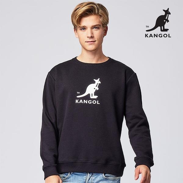 KANGOL 袋鼠 - 中間中袋鼠大學T 黑色【60551030】
