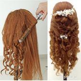 頭模化妝練習盤髮頭模真髮模特頭假編髮頭模假人頭卷燙新娘造型 LH6730【123休閒館】
