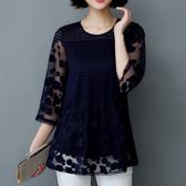 遮肚子雪紡衫短袖女夏裝新款韓版超仙顯瘦寬鬆中長款蕾絲上衣 伊衫風尚