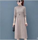 秋冬季新款韓版女裝針織衫女套頭v領中長款修身打底衫毛衣連身裙 韓國時尚週