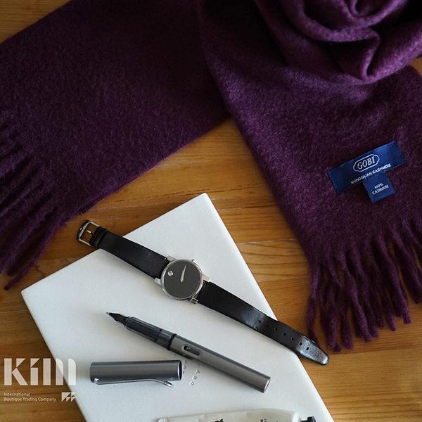 可傑 KIM Taiwan 貴氣優雅.深紫『GOBI 100% 喀什米爾圍巾』 原價3500 限時85折 $2975