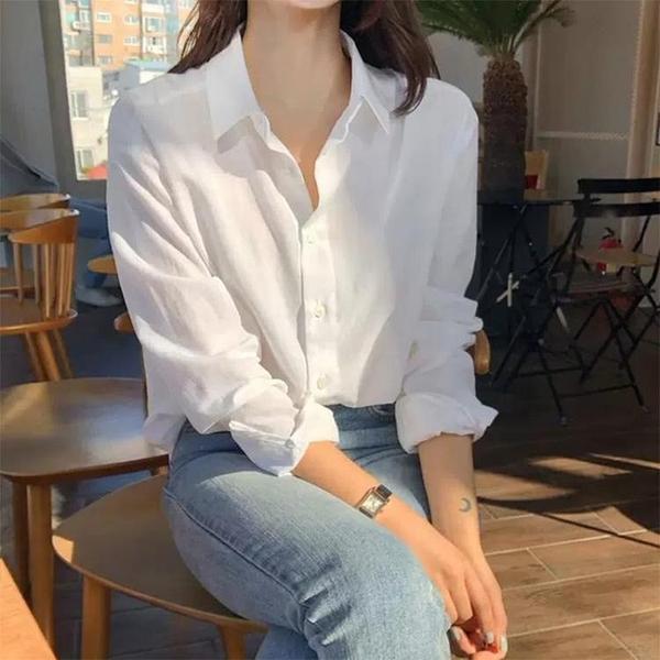 職業上衣設計感小眾春季輕熟復古港風襯衣寬鬆棉麻白色襯衫女 衣櫥秘密