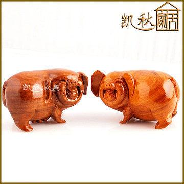 木雕*生日禮品*12生肖豬*發財豬 *一對(大)
