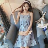 九折只要269 睡裙 睡衣 夏季吊帶睡裙女純棉韓版長款薄款睡衣寬松大碼性感家居服