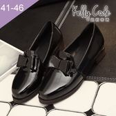 大尺碼女鞋-凱莉密碼-氣質學院風漆皮蝴蝶結樂福鞋皮鞋3.5cm(41-46)【BDK6】黑色