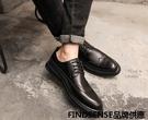 FINDSENSE品牌 四季款 新款 日本 男 高品質 真皮 布洛克雕花 商務鞋