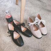 2018春季新款單鞋女方頭淺口低跟平底鞋蝴蝶結芭蕾鞋復古休閑皮鞋