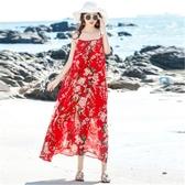 洋裝沙灘裙女夏2018新款長裙大碼顯瘦海邊度假印花洋裝【快速出貨】