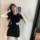 氣質性感黑色洋裝女夏2020新款收腰顯瘦短款裙子減齡短袖A字裙-鹿角巷