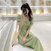 法式洋裝 法式溫柔風泡泡袖方領連身裙女夏季收腰顯瘦長裙氣質裙子-Ballet朵朵
