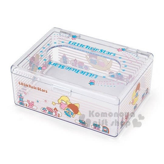 〔小禮堂〕雙子星 迷你壓克力面紙盒《粉藍.透明.房子》收納盒.袖珍面紙 4901610-39639