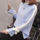 針織衫-小高領甜美蝴蝶結繫帶喇叭袖拼色女...