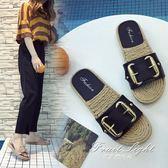 一字拖 沙灘拖鞋女平底女鞋 女士外穿厚底防滑女涼鞋子 果果輕時尚