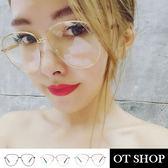 OT SHOP眼鏡框‧韓星必備顯小臉雷朋造型平光眼鏡條紋鏡腳橢圓細框‧現貨‧黑框/金框/銀框‧S09