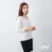 【2%】黑白拼色鑽領洋裝-白