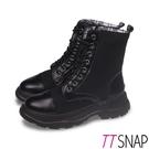 短靴-TTSNAP 英倫可反折造型綁帶馬丁靴 黑