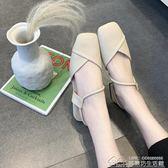 涼鞋女夏方頭時尚低跟一字帶包頭粗跟女鞋百搭兩穿學生鞋 居樂坊生活館