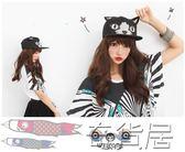 棒球帽女春夏女立體刺繡嘻哈帽小貓耳朵平沿嘻哈棒球帽【奇貨居】