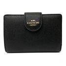 【COACH】新款經典LOGO鈔票零錢袋中夾(金標-黑)