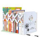 可伸縮書立高中學生用書架簡易桌上收納書夾創意折疊書靠擋