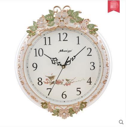 楓葉靜音客廳掛鐘歐式實木鐘錶現代大號船舵時鐘