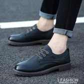 春季新款男士透氣休閒鞋男商務休閒皮鞋男鞋子平底正裝皮鞋英倫黑-Ifashion