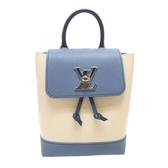 LOUIS VUITTON 路易威登 藍白色牛皮迷你背包Lockme Backpack Mini M55017 BRAND OFF