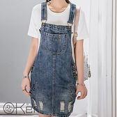 復古刷破牛仔吊帶裙 O-Ker LL60190-C