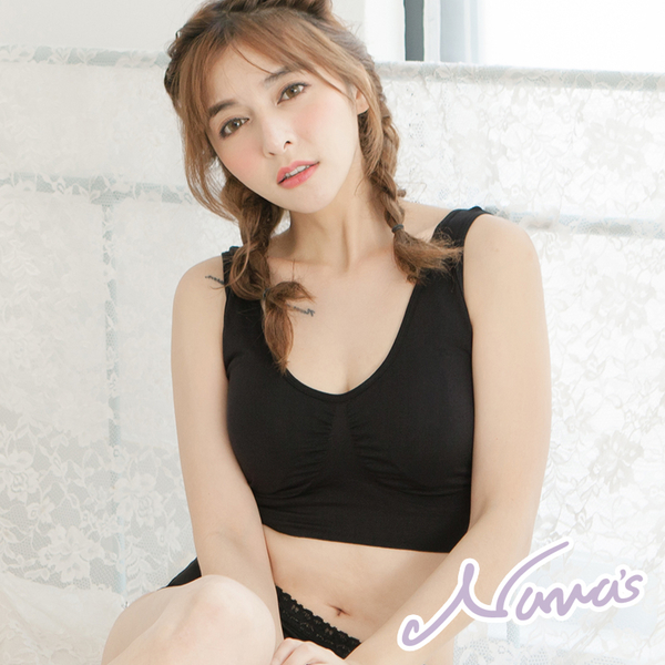 【露娜斯】素面休閒無縫U型美背運動內衣【黑/膚】S7312