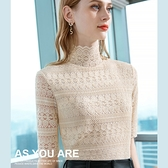 內搭蕾絲衫高領波浪五分袖上衣性感(九色S-2XL可選)/設計家 AL301825